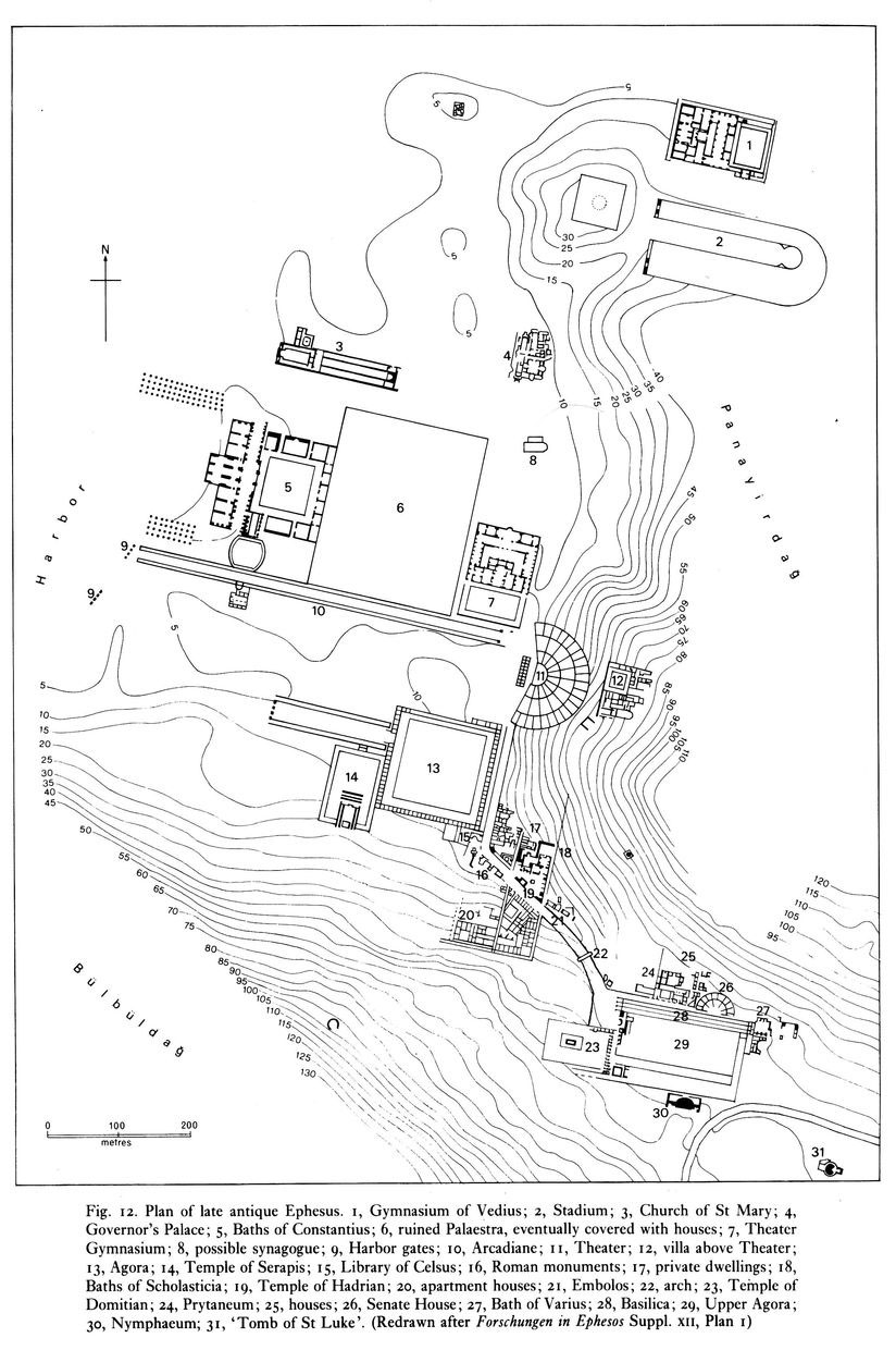 Map:Plan of late antique Ephesus. 1.Gymnasium of Vedius; 2.Stadium; 3.Church of St Mary; 4.Governor's Palace; s.Baths of Constantius; 6.ruined Palaestra, eventually covered with houses; 7.Theater